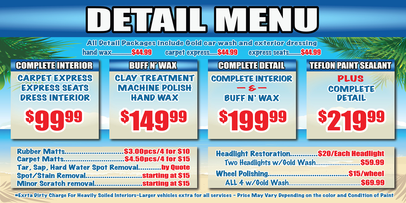 Car Detailing Prices >> Detail Packages || Coast Carwash and Detail center