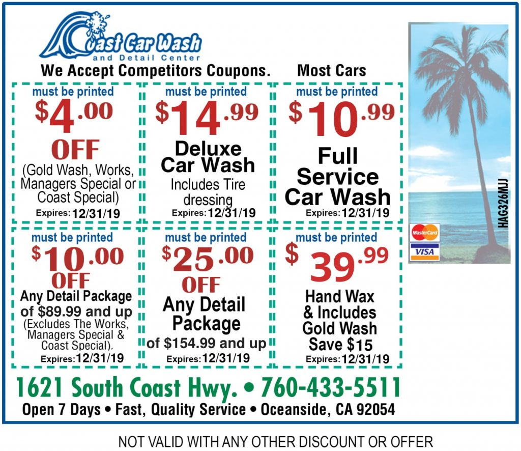 Web Only Coupons Coast Carwash And Detail Center